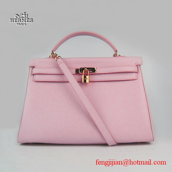 Hermes Kelly 35cm Togo Leather Bag Pink 6308 Gold Hardware