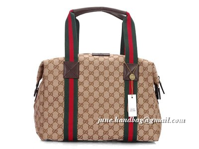 Gucci Carry On Duffel Small GG Fabric Bag 235135 Coffee