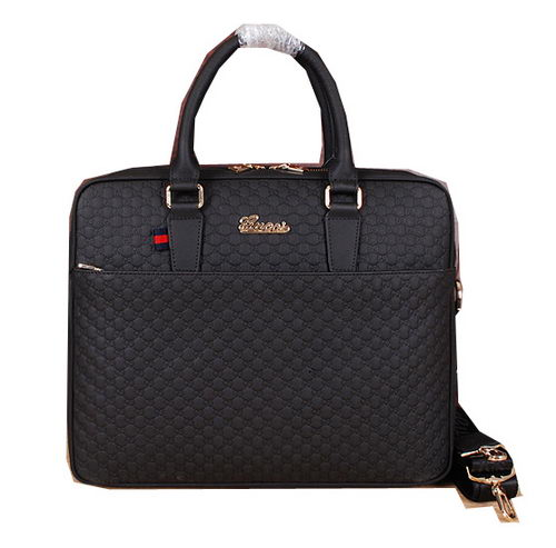Gucci Guccissima Leather Business Briefcase G66181 Black