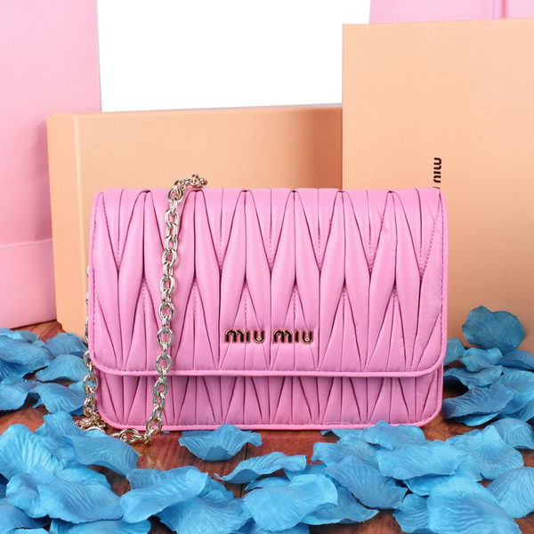 miu miu Matelasse Leather Flap Shoulder Bag BL601 Pink