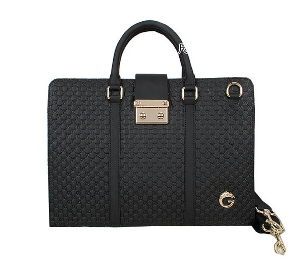 Gucci Guccissima Leather Business Briefcase 52297 Black