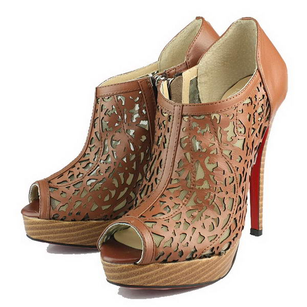 Christian Louboutin 130mm Sheepskin Laser-Cut Vamp Ankle Boot Brown