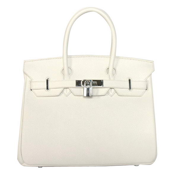 Hermes Birkin 30CM Tote Bags Smooth Togo Leather White