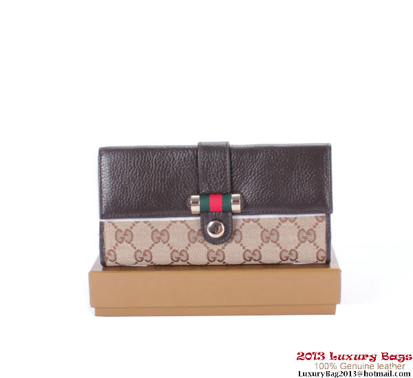 Gucci Web Medium Flap Wallet 233006 Brown