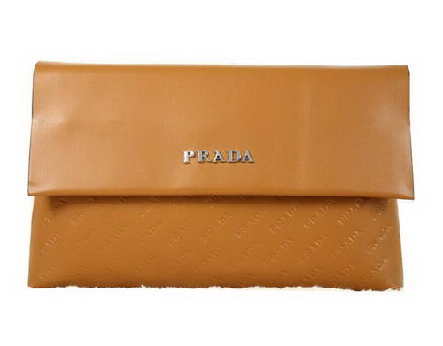 PRADA Weave Leather Clutch P88082 Wheat