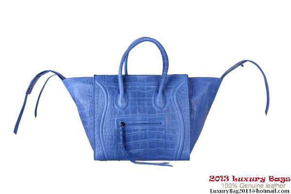 Celine Luggage Phantom Shopper Bags Croco Leather 16995 88033 Blue
