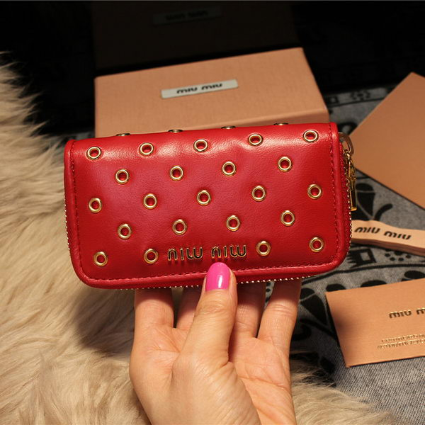 miu miu Nappa Leather Keychain M1108 Red