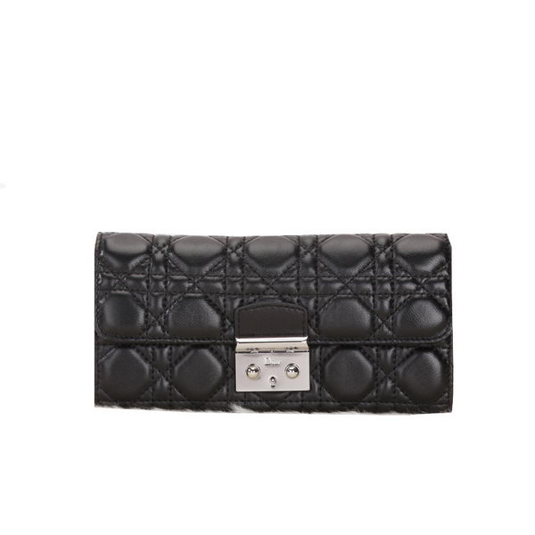 Dior Flap Wallet in Sheepskin Leahter D012 Black