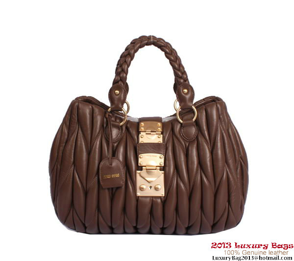 miu miu Top Handle Bag Lambskin Leather 81149 Dark Brown