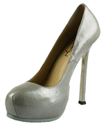 YSL nappa leather round toe high heel pumps sliver-grey