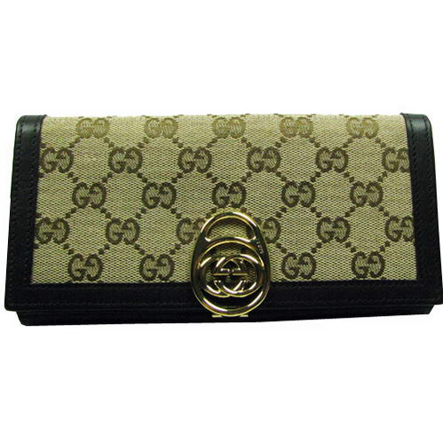 Gucci Continental GG Fabric Long Wallet 224225 Black