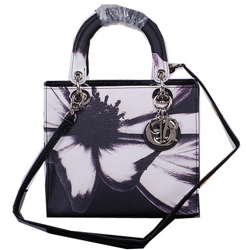 Dior Chrysanthemum Leather Lady Dior Bag D5432 Black