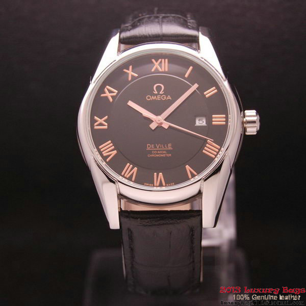 OMEGA DE VILLE Co-AXIAL CHRONOMETER Steel on Black Leather Strap OM77006