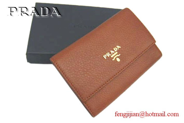 Prada Leather Wallet 1M0203 light coffee