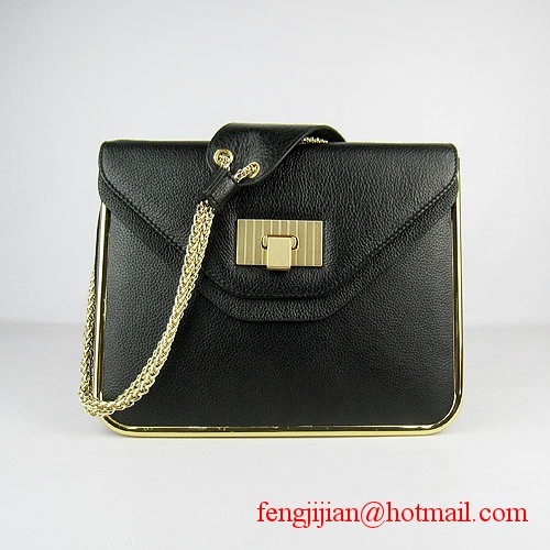 Chloe Sally Calf Leather Shoulder Bag Black 50898