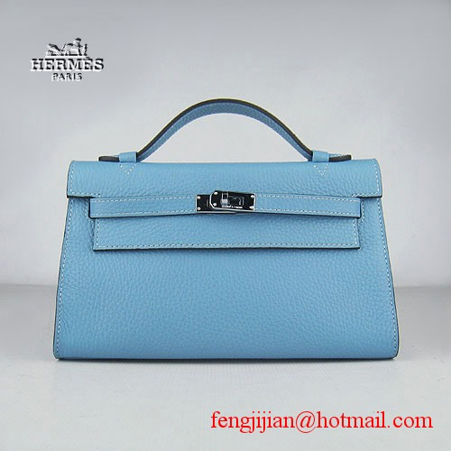 Hermes Kelly 22cm H008 light blue bags