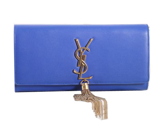 Saint Laurent Classic Monogramme Tassel Original Leather Clutch Y5485 Royal