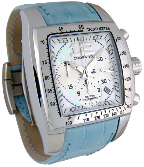 Chopard Miglia Tycoon Series Steel Chronograph Mens Swiss Quartz Watch 168961 in Blue
