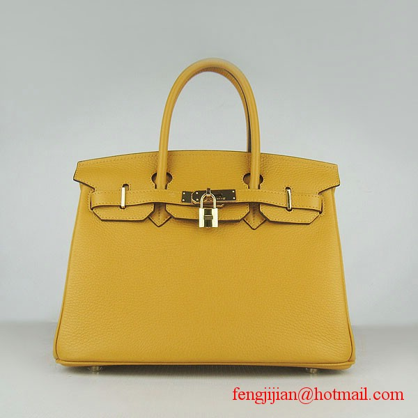 Hermes Birkin 30cm Togo Leather Bag Yellow 6088