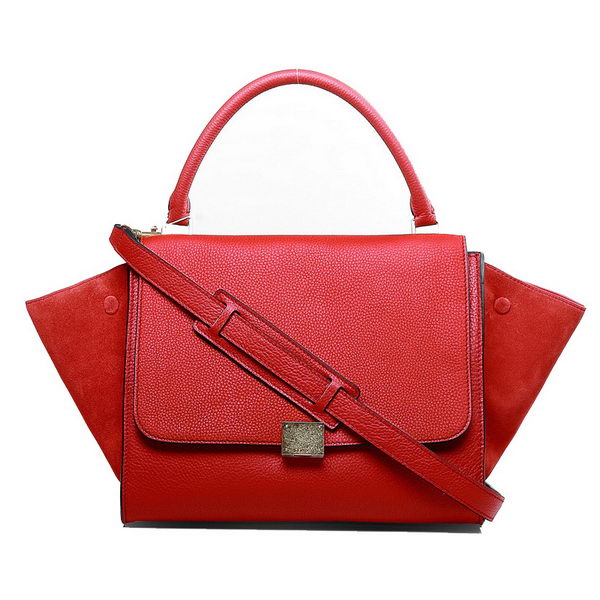 Celine Trapeze Bags Original Leather Maple Red