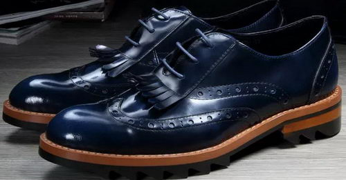 Prada Men Casual Shoes Calfskin Leather PD382 Royal