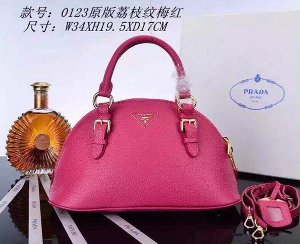 PRADA Litchi Leather Top Handle Bag BN0123 Rose