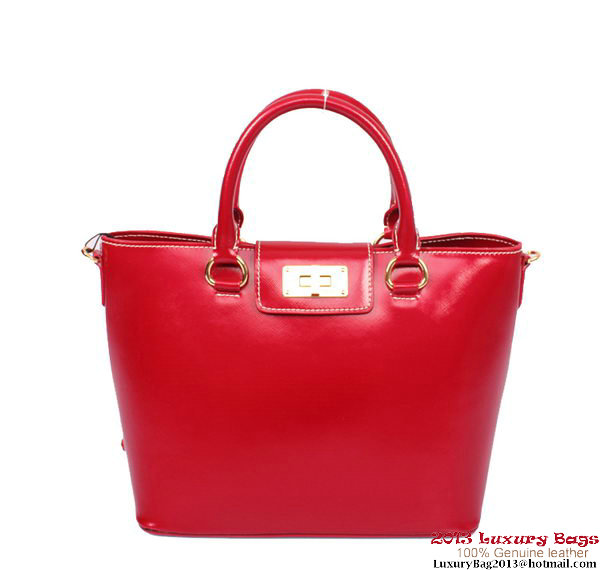 PRADA Shiny Calf Leather Top Handle Bag PR2236 Red