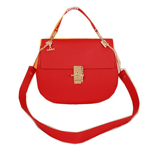 CHLOE Drew Small Grained Leather Shoulder Bag 1123 Red