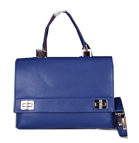 Prada Smooth Leather Tote Bags BN2796 Blue