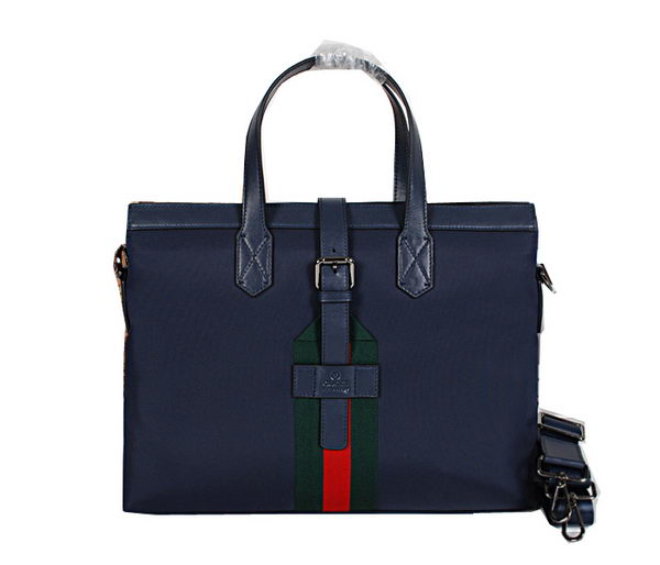 Gucci Calf Leather & Canvas Business Briefcase 83581 Blue