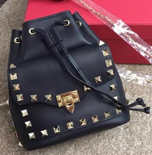 Valentino Garavani Rockstud mini Hobo Bag VT76358 Black