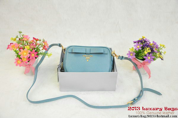 Prada Saffiano Calf Leather Pouch BN1674 Light Blue