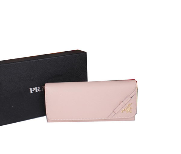 Prada 1M1132 Saffiano Leather Bow Wallet Light Pink