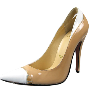 Christian Louboutin Red Sole Shoes White Pointed Toe Patent Leather Pumps Brown