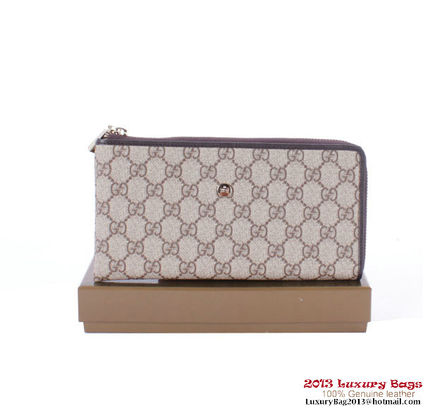 Gucci Web Zippy Wallet 222736 Brown