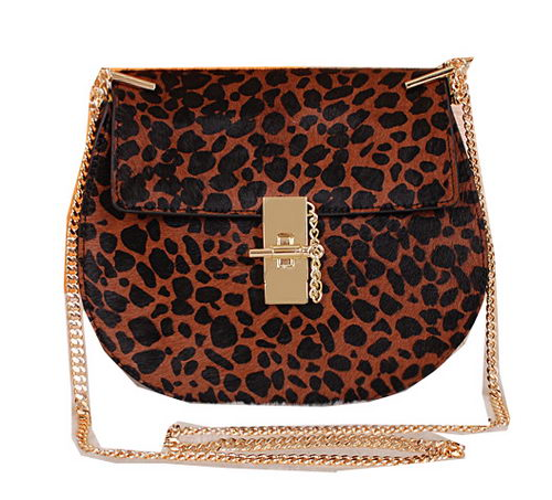 CHLOE Drew Small Leopard Leather Shoulder Bag 1125 Brown