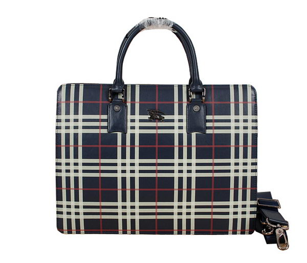 Burberry Smoked Check Mens Briefcase 229011 Blue