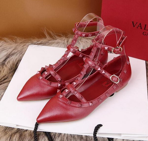 Valentino Smooth Leather Rivet Sandal VT228YZM Red