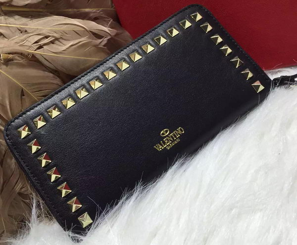 Valentino ROCKSTUD Continental Zipped Wallet VG027 Black