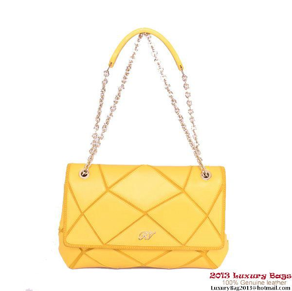 ROGER VIVIER Prismick Medium Calskin Leather Bag RV3608 Yellow