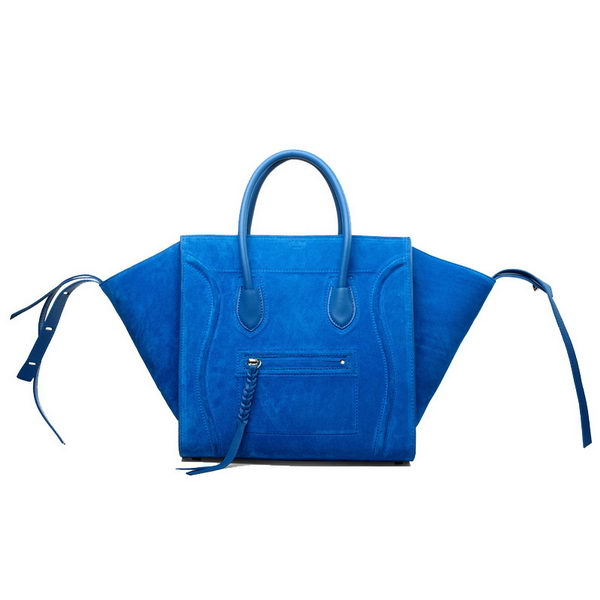 Celine Luggage Phantom Original Suede Leather Bags Blue