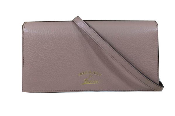 Gucci Swing Leather Wallet With Strap 368231 Light Pink