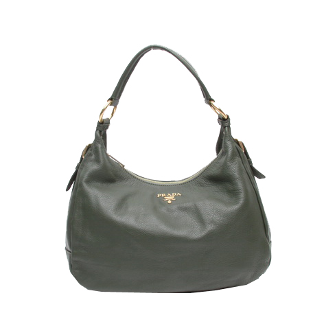 Prada Vela Grainy Leather Hobo Bag BR4580 Dark Green