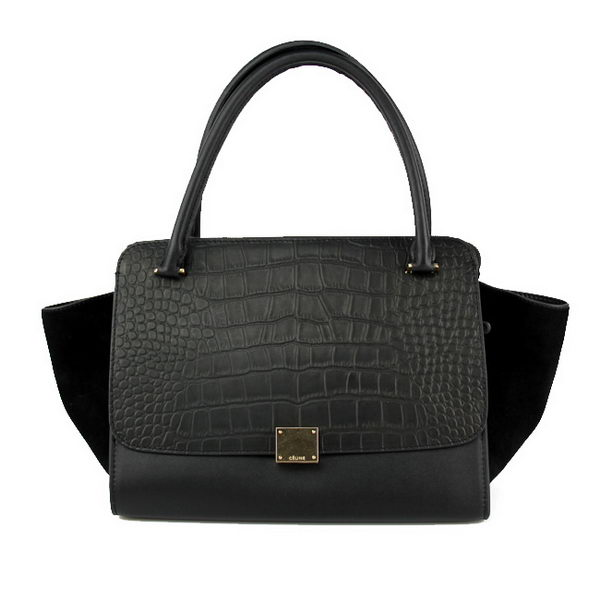 Celine Trapeze Bag in Croco Leather 18024 Black