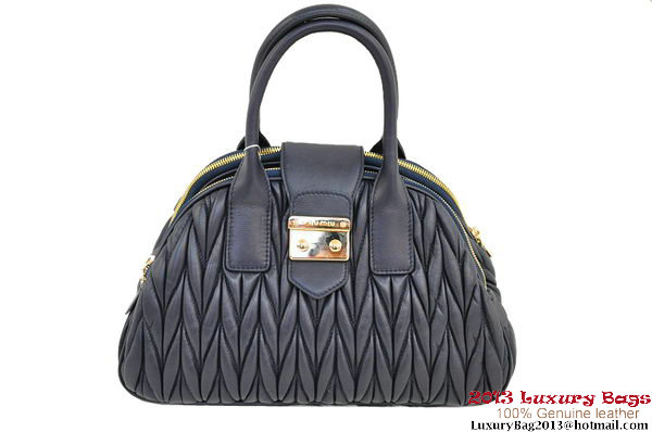 miu miu RL0073 Matelasse Shiny Leather Top Handle Bag RoyalBlue