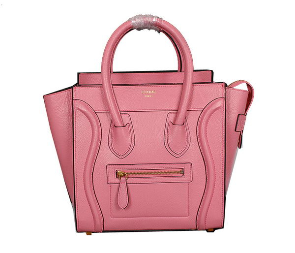 Celine Luggage Micro Handbags Grainy Leather C107 Pink