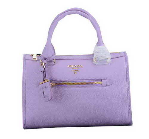 Prada Litchi Leather Top Handle Bags PBL2663 Lavender