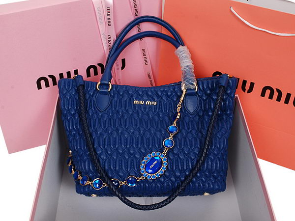 miu miu Cloquet Nappa Leather Bucket Bag RL8020 RoyalBlue