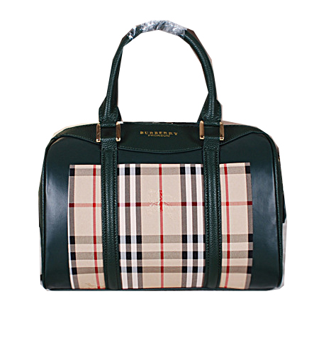 Burberry Medium Haymarket Check Bowling Bag BU3988 Green
