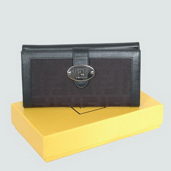 Fendi canvas black leather long wallet 81314